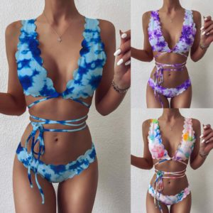 Print Women Bikini Set Swimwear Gradient Swimsuit Side Bandage Bathing Suit Push Up