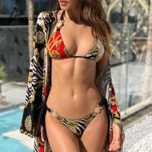 Diamond Print sexy swimsuit Beachwear halter push up