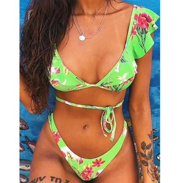 Beach Bikini 2020 Woman Sexy Front Lace Up Tie Strapless