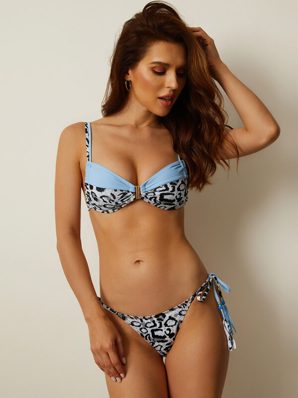 Women Leopard Patchwork Solid Color Thong Bikini String Swimsuits