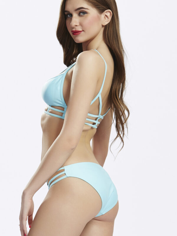 Triangle Cut Out Pants Bandage Strap String Bikini Swimsuit