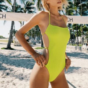 Women's Swimsuit 2020 Solid Color One Piece Bikini Bath Suits Sexy Backless Halter Swimwear Swimsuits Summer Beach Wear Bikinis