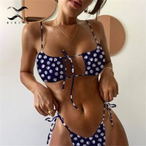 Sexy brazilian bikini set 2020 Floral print swimsuit women Bandeau swimwear female Hollow out bathing suit Micro 2 piece suit