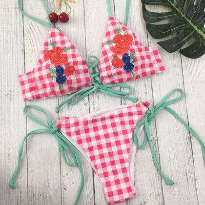Red Plaid Bikini Sets Women Embroidery Floral Swimwear