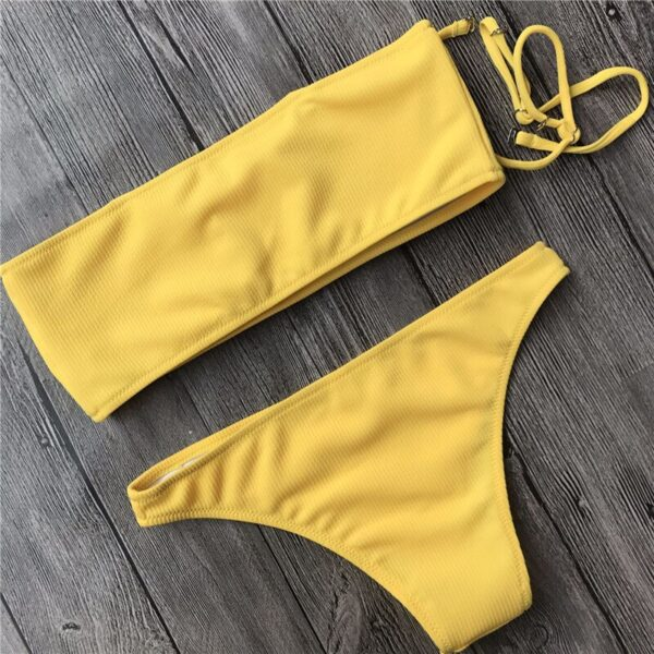 Uego Mujer Biquini Pit Stripes Sexy Bikini 2020 Women Swimwear High Waist Solid Color Lady Girl Beachwear Bathing Suits Bather