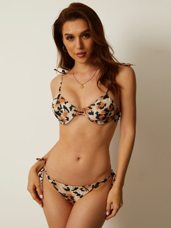 Women Leopard Underwire Bikini String Straps Push Up Beachwear