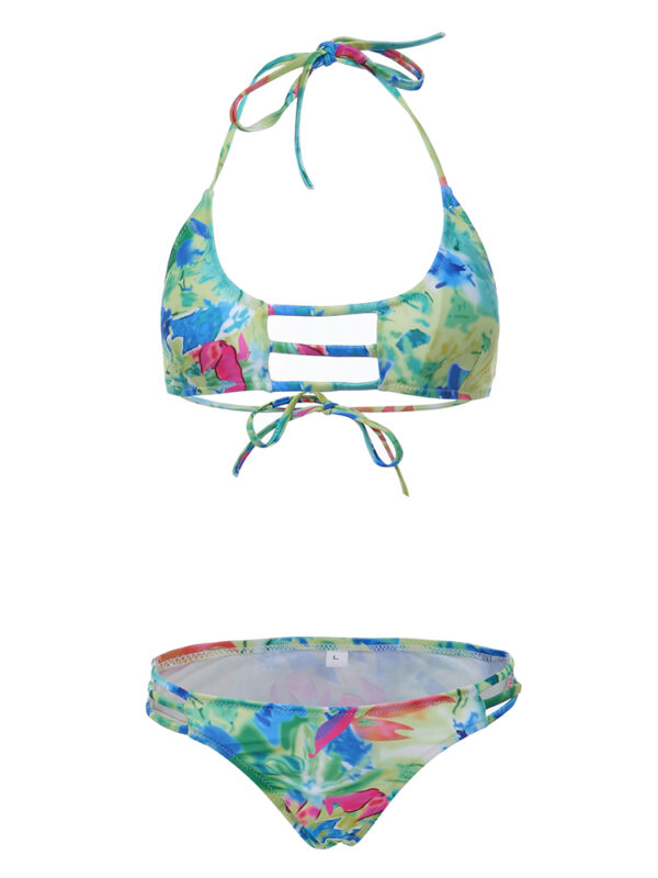 Women Sexy Printed Bikini Halter Wire Free Push Up Backless Low Waist Thong Swimsuit Sets