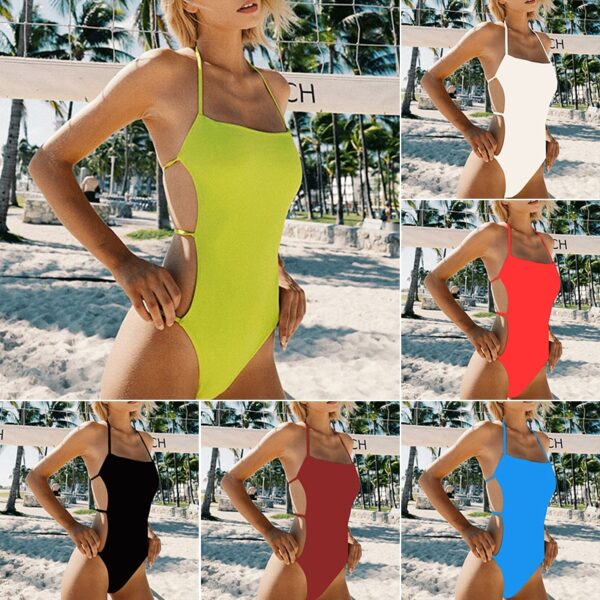 In-X Sexy knotted swimsuit one piece Solid sports swimwear women Monokini Hollow out bikini Bodysuit one-piece suits bathers new