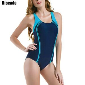 Riseado Swimming Suits for Women Competitive Swimwear Women One Piece Swimsuit 2021 Patchwork Racer Back Bathing Suits
