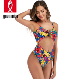 YUWANNIAN 2020 New Women's Cutout Lace up Floral Print Bikini Set Swimsuit Hot-selling Strappy Tie Knot Front Design Swimwear