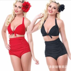 Sexy Swimwear European and American Large Size Swimsuit split bikini high waist slim belly retro wave point pattern fat